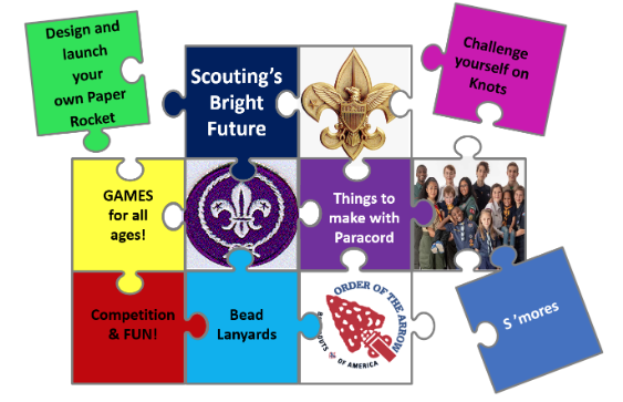 Graphic for District September Exchange gathering highlighting the theme Scouting's Bright Future.