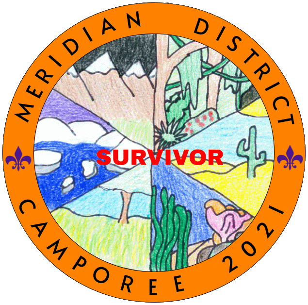Patch for Camporee 2021 with a theme of Survivor.
